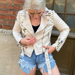 Faux Leather Embroidered Floral Moto Jacket